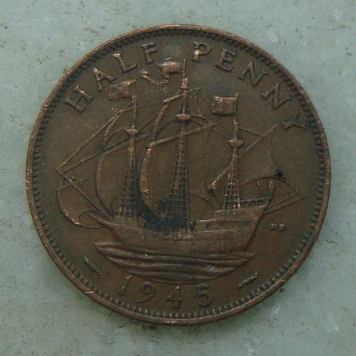 inglaterra 1952 half penny, bronze, georgivs vi, 25 mm barco