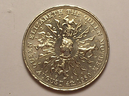 inglaterra crown) 25 pence - 1980 / 38mm / flor