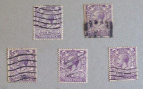 inglaterra, lote 5 sellos sc. 164-192 estudio l0186