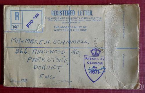 inglaterra, sobre registrado censura inglesa wwii 1944 l8085
