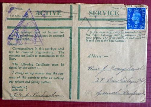 inglaterra, sobre servicio activo wwii censura 1943 l8082