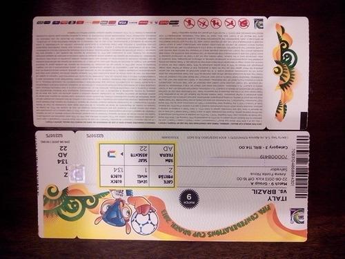 ingresso copa das confederações 2013 - ita x bra - nig x uru