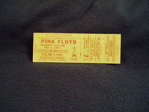 ingresso pink floyd 1977 - in the flesh tour (animals)