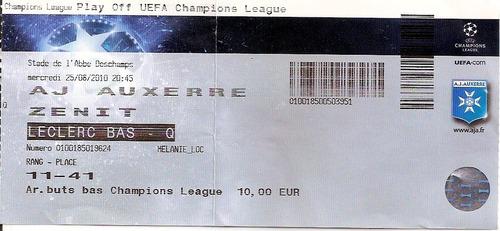 ingresso uefa champions 2010 auxerre x zenit 25/08