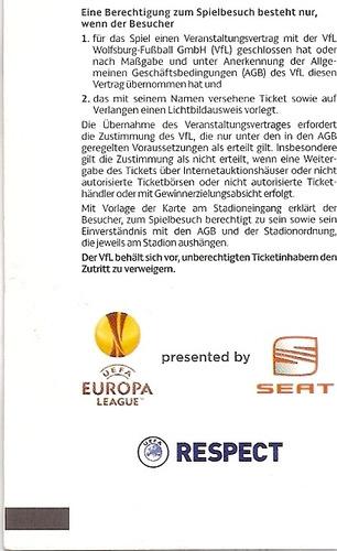 ingresso uefa league 2010 wolfsburg x fulham 08/04