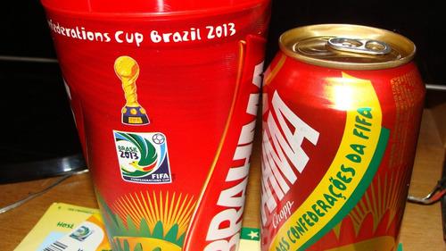 ingressos copa confederações 2013 final+copo e lata(brahma)