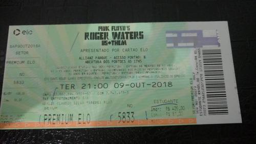 ingressos roger waters us + them tour 2018 (allianz parque)