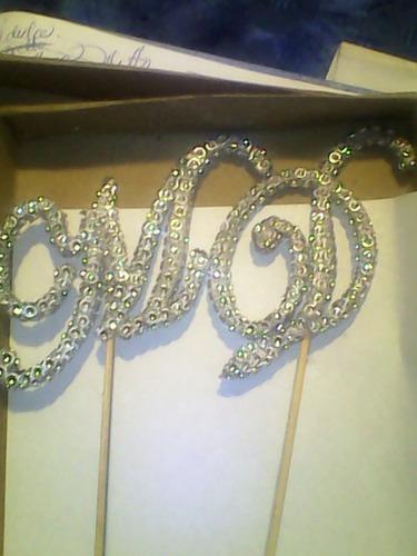 iniciales letras strass para topper de tortas bodas 15 años
