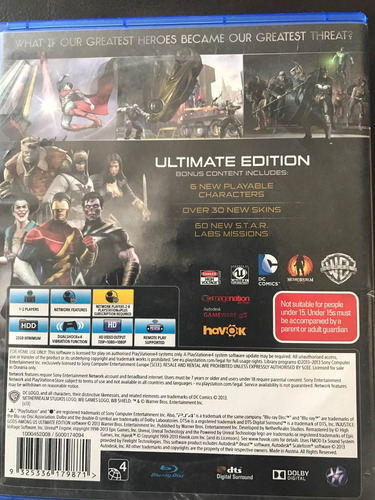 injustice gods among us ultimate edition ps4 seminuevo