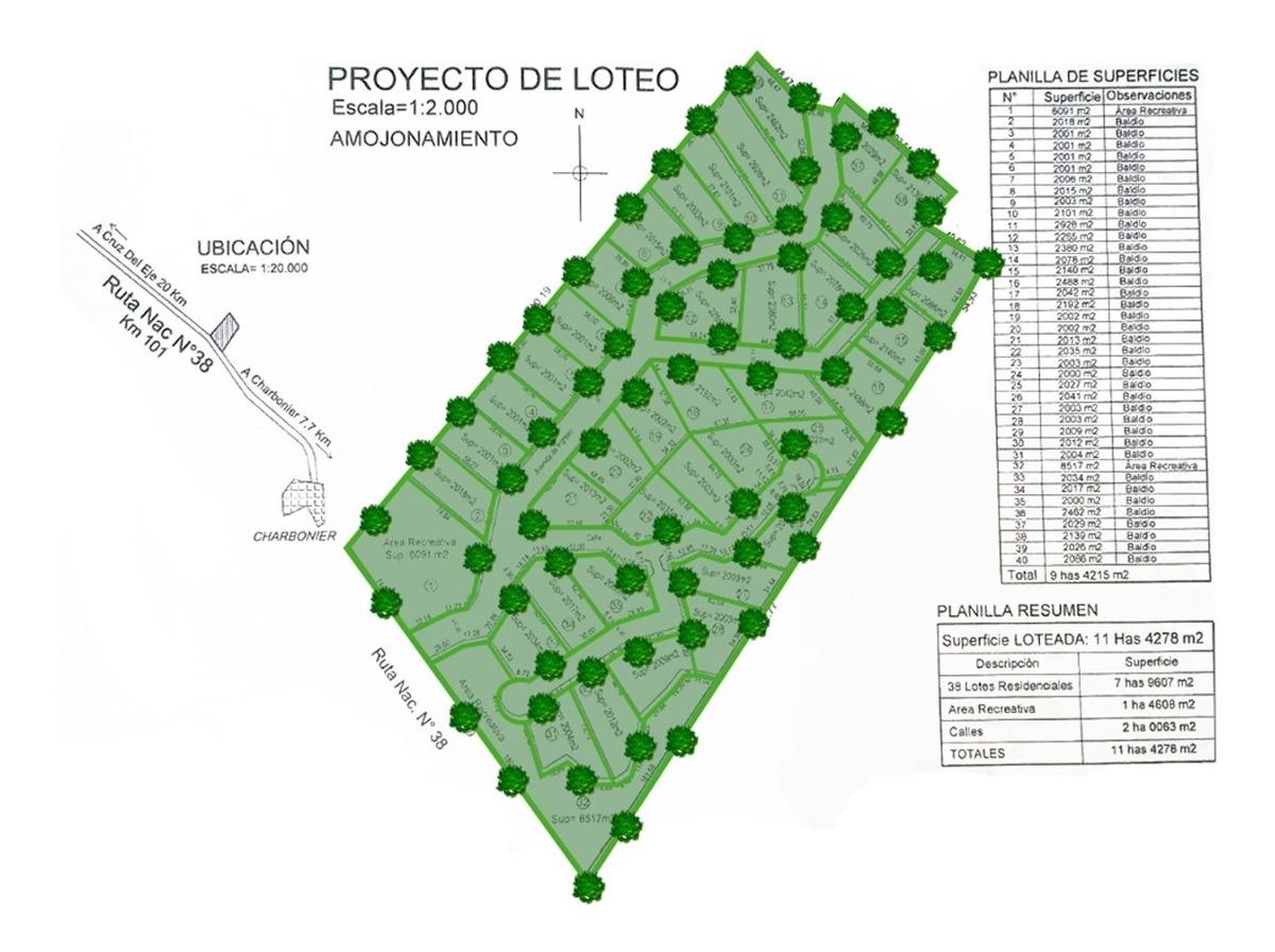 inmobiliaria aloja vende lotes de 2000 m2 en la rn 38 km 101