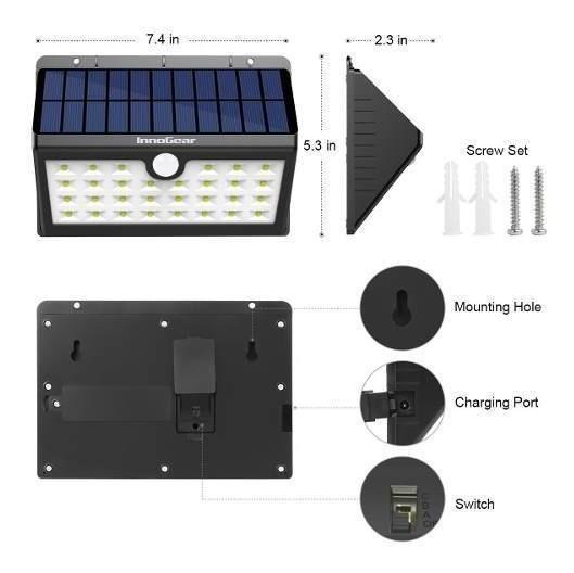 InnoGear 24 LED Solar Lights Dim to Bright Motion Sensor Outdoor Wall Light for