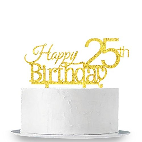 InnoruR Happy 25th Birthday Cake Topper 25 Aniversario De C
