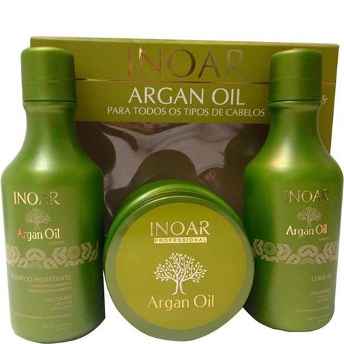inoar - kit argan oil - shampoo/leave in/máscara