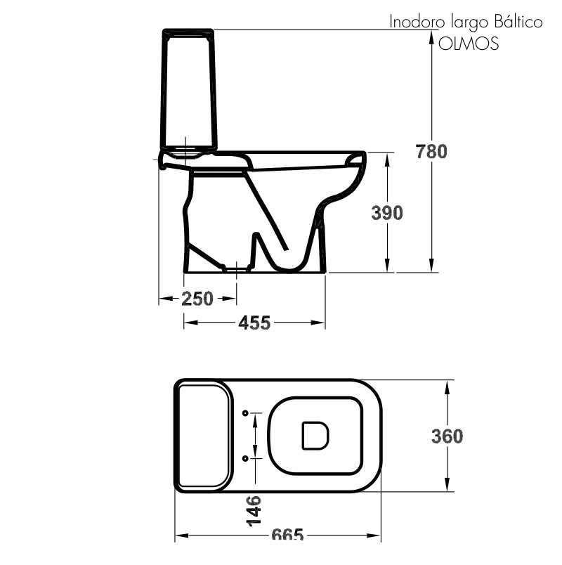 Inodoro con mochila b ltico olmos blanco salida a 25cm for Inodoro con mochila