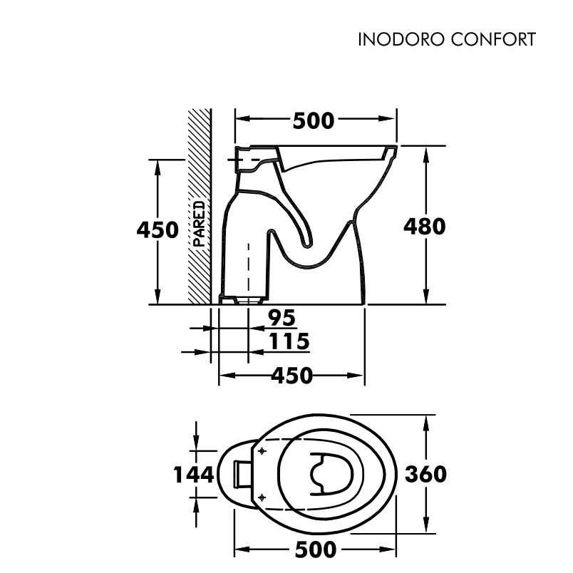 Inodoro confort olmos altura 48cm en for Inodoro discapacitados