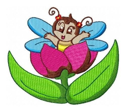 insetinho na flor - coleção de matriz de bordado