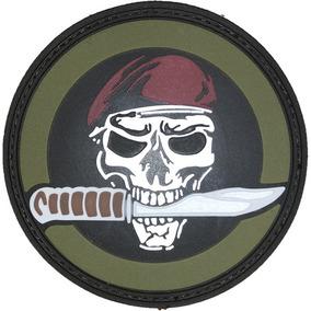 3d8e239007f30 Parche Caucho Calavera Boina Y Cuchillo Militar