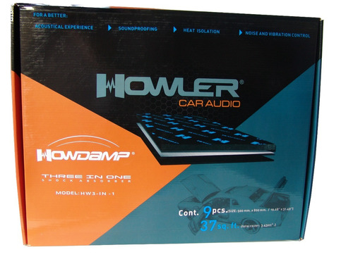 insonorizante dynamat howler 9 hojas 19 x 31 pul 3 en 1 foam