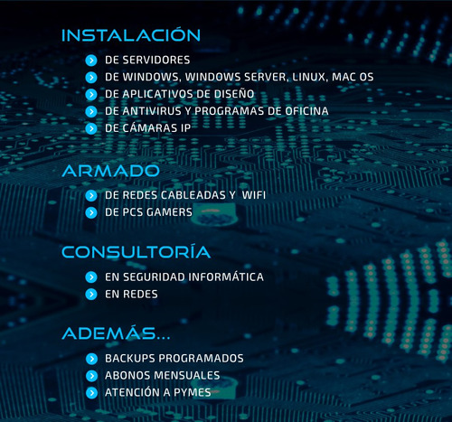 instalación armado servidores notebook pc gamers mac pymes