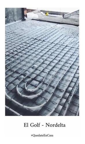 instalación calefacción piso radiante con materiales m2