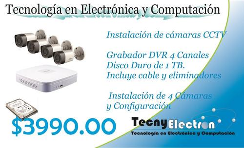instalación de cctv 4 cámaras hd 720