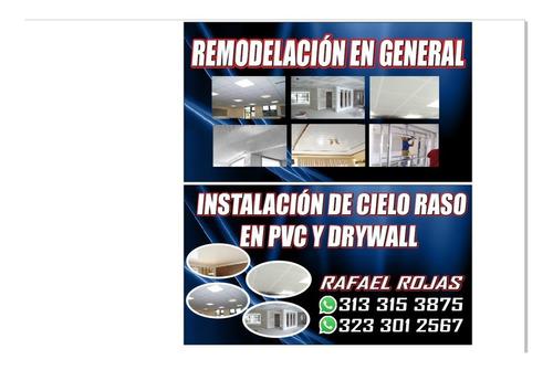 instalacion de cielos rasos en pvc y drywall al mejor precio