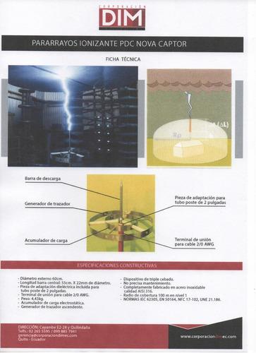 instalación de pararrayos ionizantes con 10 años de garantía