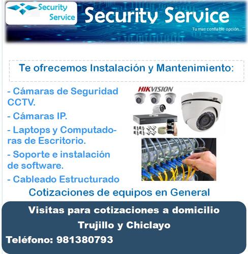 instalación y mantenimiento de camaras de seguridad, ip, pc