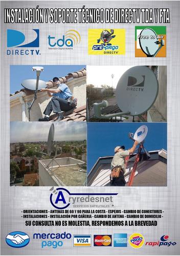 instalación/tecnico satelital fta,directv prepago y tda.