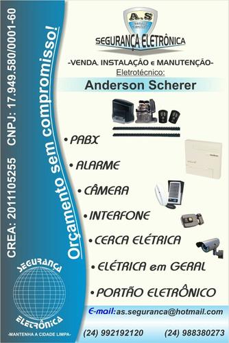 instalacão câmera,alarme,pabx,interfone e portão eletrônico