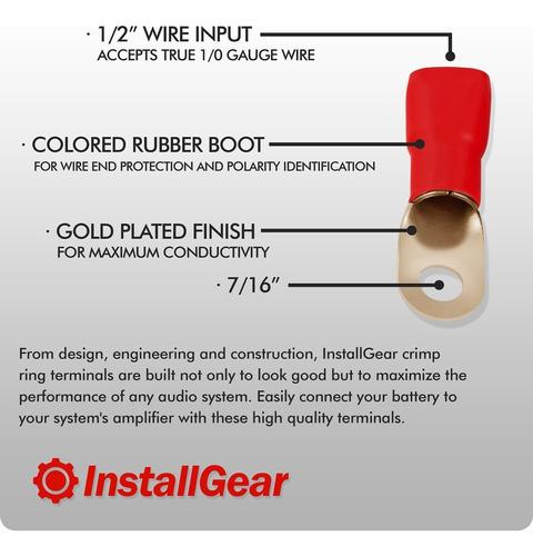 installgear 1/0 awg anillo de presión conectores terminales