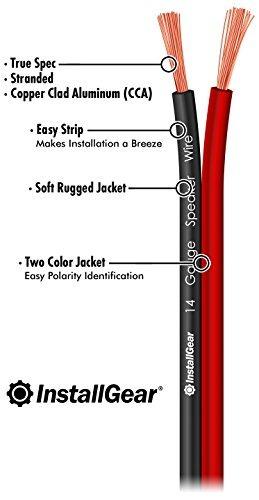 installgear altavoz calibre 14awg cable de alambre, rojo/ne
