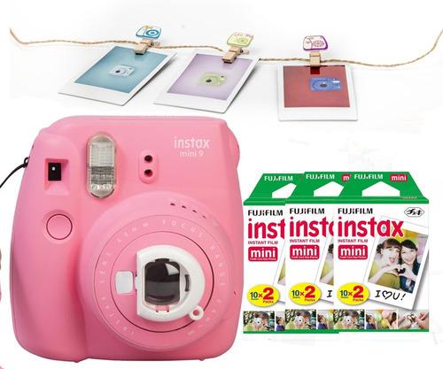 instax mini 9 rosa flamenco 60 fotos 10 broches oficiales