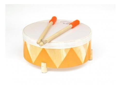 instrumento musical tambor de madera con 2 palillos 25cm