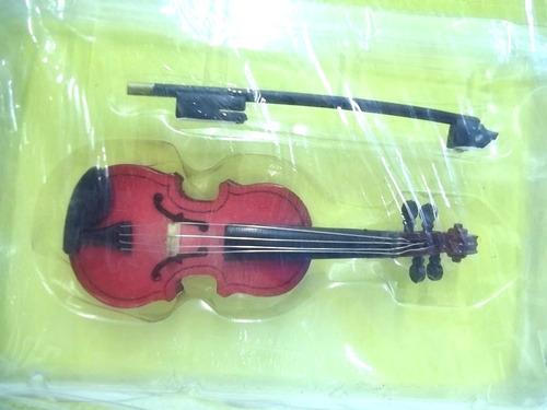 instrumentos musicais miniatura violino + revista salvat