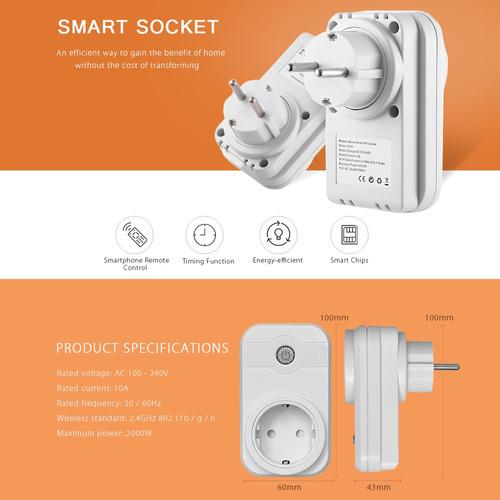 Inteligente Enchufe Socket Switch 100-240v 10a 2 4ghz Wifi