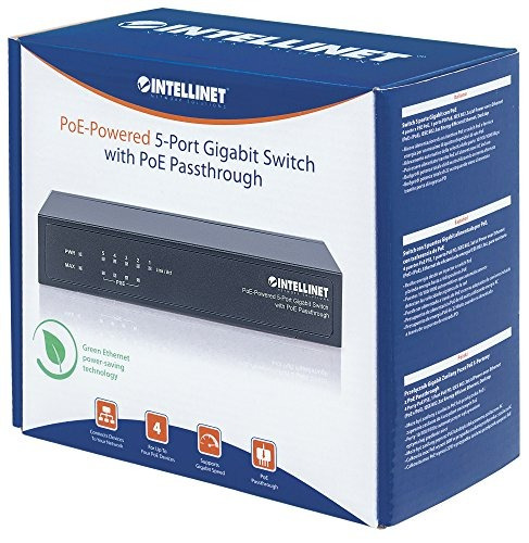 intellinet 561082 5 port gigabit switch poe