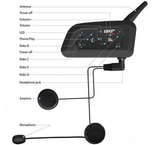 intercomunicador bt v6 pro para casco de motocicleta 1 ud.