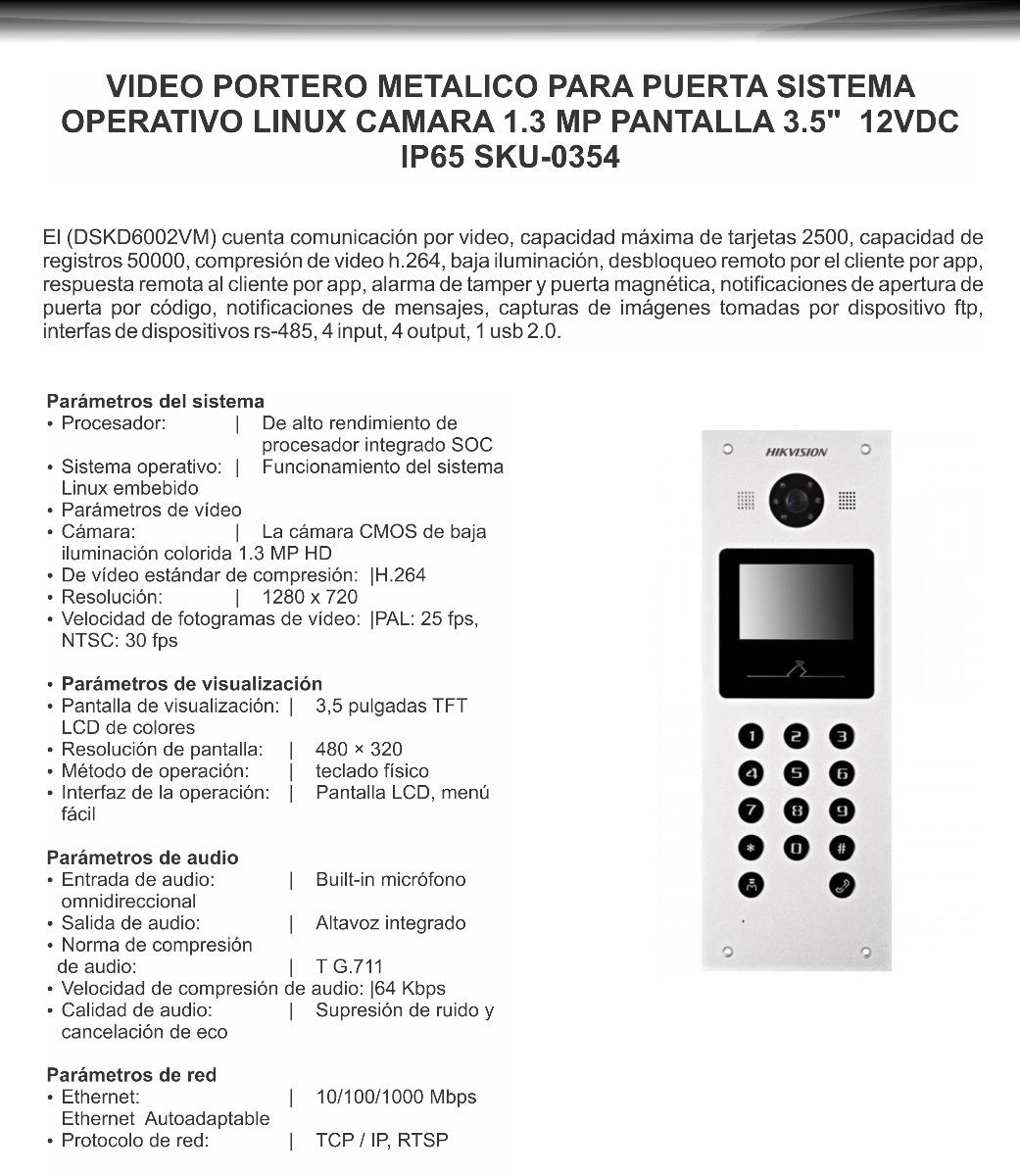 Intercomunicador Vídeo Portero Ip Puerta Dskd6002vm - $ 1.629.000 en ...