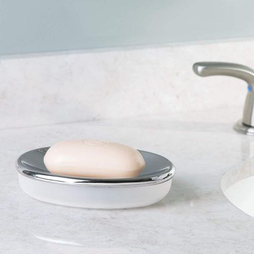 interdesign diva jabón plato , claro / cromo