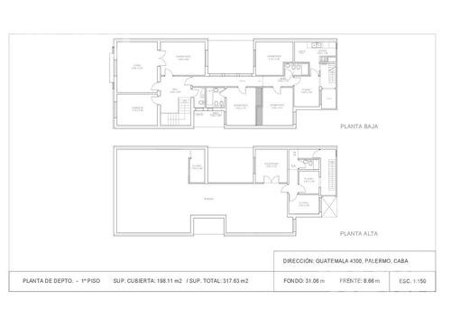 interesante p.h. al frente de 318 m2 con terraza propia y parrilla. palermo soho