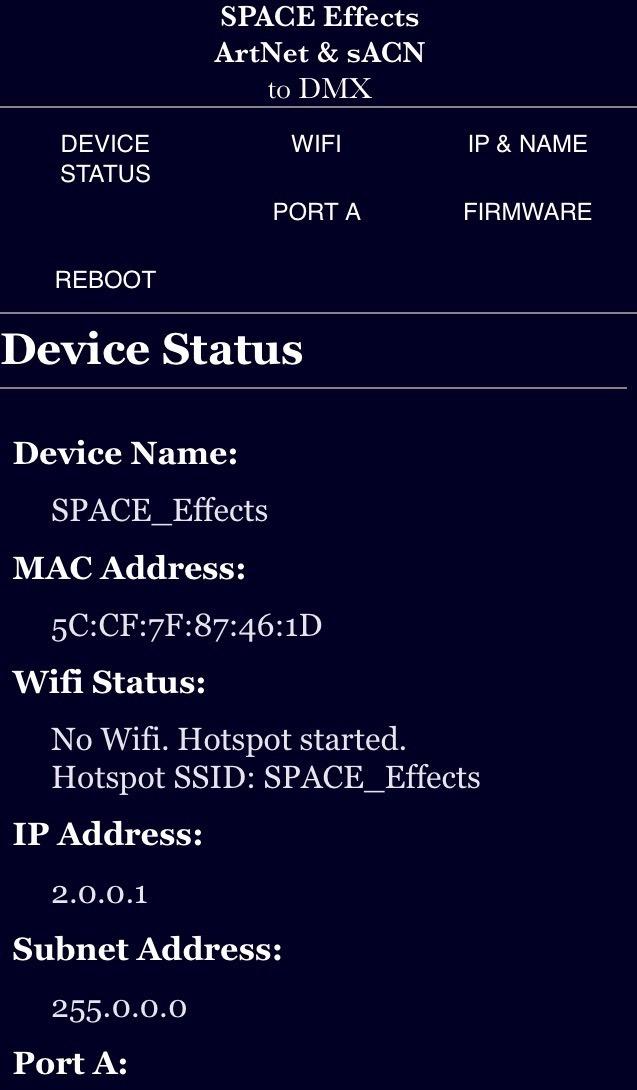 Interface Art-net Dmx Wifi - Space Effects Artnet