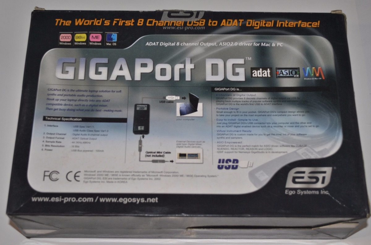 DOWNLOAD DRIVERS: ESI GIGAPORT DG AUDIO INTERFACE ASIO
