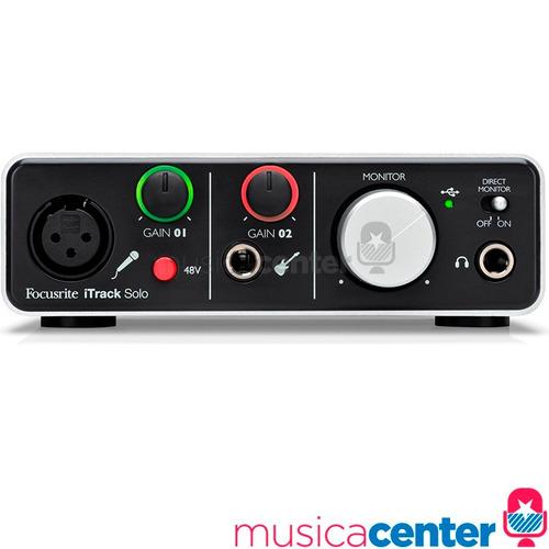interface de áudio usb para ipad focusrite itrack solo