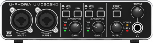 interface de áudio usb placa behringer umc202 hd pré midas