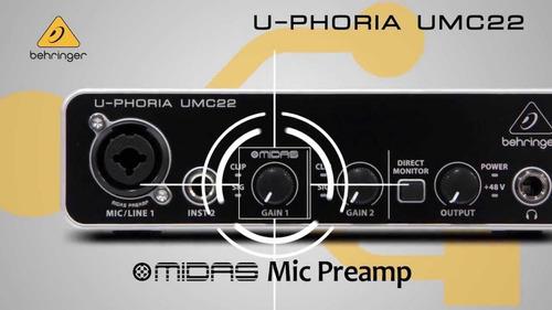 interface grabación usb behringer umc22 midas 2x2