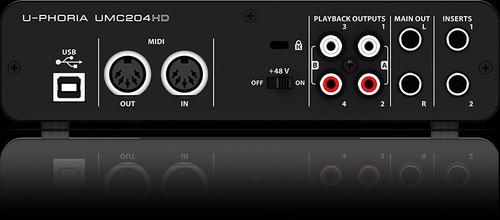 interface grabación usb midi behringer umc 204 hd 192 khz