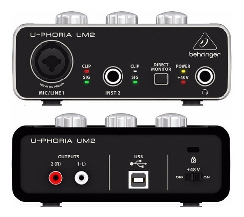 interfaz de audio behringer um 2 uphoria 2x2 phantom