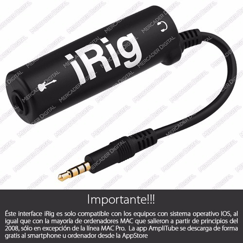 interfaz irig de amplitube guitarra iphone + envío gratis