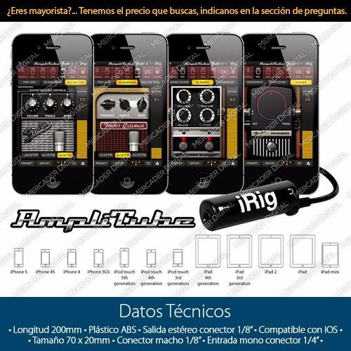 interfaz para guitarra y iphone y ipod irig para amplitube